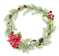 Watercolor christmas fir wreath with holly, mistletoe and poinsettia. New year tree branch wreath for design, print or