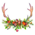 Watercolor Christmas Garland and Deer Antler