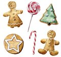 Watercolor Christmas pastry set. Hand painted candy cane, peppermint lollipop, cookies with Christmas tree and white