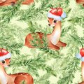 Watercolor christmas pattern with fawns