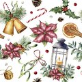 Watercolor Christmas pattern with traditional decor. Hand painted lantern, snowberry, bells, candle, mistletoe, cinnamon