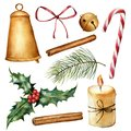 Watercolor Christmas plant and decor set. Hand painted candle, holly, bells, bow, cinnamon, candy cane, christmas tree