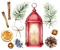 Watercolor Christmas red lantern with decor. Hand painted lamp with candle, fir branches and cones, bells, juniper