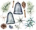 Watercolor Christmas scandinavian decor. Hand painted fir branches and cones, silver bells, star, juniper, snowberry