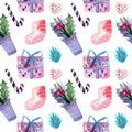 Watercolor christmas seamless pattern