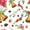 Watercolor christmas seamless pattern with deers and decor. New year tree ornament with deer, bell, holly, mistletoe