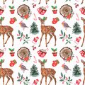 Watercolor Christmas seamless pattern with hand drawn baby deer, cute robin bird, winter pine tree, berries, cake, hot chocolate Royalty Free Stock Photo