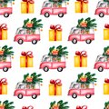 Watercolor Christmas Toy Model bus loaded with sweets, boxes christmas tree, balls. Seamless pattern on white background.