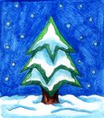Watercolor Christmas Tree During A Snowy Night Royalty Free Stock Photo