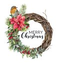 Watercolor Christmas wreath with bird. Hand painted tree frame with robin, poinsettia, holly, snowberry, floral and fir Royalty Free Stock Photo