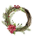 Watercolor christmas wreath with decor. New year tree and wood branch wreath with holly, mistletoe and poinsettia for