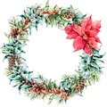 Watercolor Christmas wreath with eucalyptus and poinsettia. Hand painted fir border with cones, berries, eucalyptus Royalty Free Stock Photo