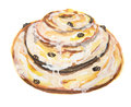 Watercolor cinnamon bun.