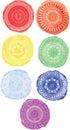 Watercolor circles. Circular ornament.