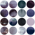 Watercolor circles collection grey colors. Watercolor stains set