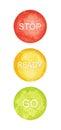 Watercolor circles, traffic lights, vector
