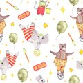 Watercolor circus animal seamless pattern with elephant bear mouse isolated