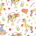 Watercolor Circus Animal Seaml...