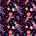 Watercolor circus seamless pattern