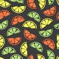 Watercolor citrus seamless pattern.