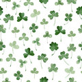 Watercolor clover seamless vector pattern.