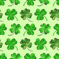 Watercolor clover shamrock Saint Patrick's Day seamless pattern vector