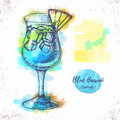 Watercolor cocktail blue hawaii sketch.