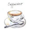 Watercolor coffee cappuccino