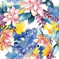 Watercolor colorful bouquet flower. Floral botanical flower. Seamless background pattern.