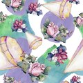 Watercolor colorful bouquet of mix flowers. Floral botanical flower. Seamless background pattern.