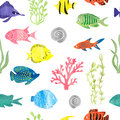 Watercolor colorful fish seamless pattern.