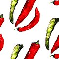 Watercolor colorful vegetables set red hot chili peppers, capsaicin closeup isolated on white background pattern Royalty Free Stock Photo