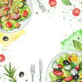 Watercolor composition with salads, napkins, vegetables and tableware