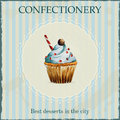 Watercolor confectionery advertisement with