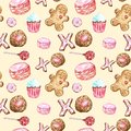 stock image of  Watercolor cookies, cupcakes, lollipop, macaron, gingerbread seamless pattern on warm yellow background