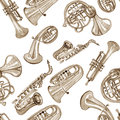 Watercolor copper brass band music pattern Royalty Free Stock Photo