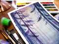 Watercolor creative art drawing magic forest wood nature gouache paint pot brush paintbrush photo Royalty Free Stock Photo
