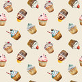 Watercolor cupcake seamless pattern