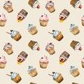 Watercolor cupcake seamless pattern