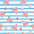 Watercolor cute abstract watercolor blue strocks and watermelon. Aquarelle cute background Royalty Free Stock Photo