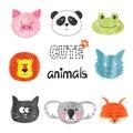 Watercolor cute animals set