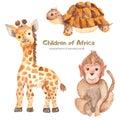 Watercolor cute cartoon African animals.