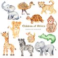 Watercolor cute cartoon African animals.