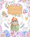 Watercolor cute Cartoon Owl. Cute baby greeting card. Boho flowers and floral bouquets Happy Birthday set. Watercolor greeting