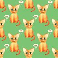 Watercolor cute cat seamless pattern on green bacground