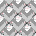Watercolor cute cats. Seamless pattern 3 Royalty Free Stock Photo