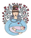 Watercolor cute mother with baby illustration Royalty Free Stock Photo