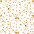 Watercolor cute nursery naive handpainted seamless pattern. Girl elephant, Yellow flowers, balloon. Newborn Hand painted Royalty Free Stock Photo
