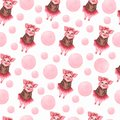 Watercolor cute pigs characters set isolated on white. perfect for card making, birthday invitations and baby design