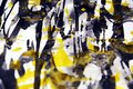 Watercolor dark blue yellow gray gold white texture paint watercolor spots Royalty Free Stock Photo